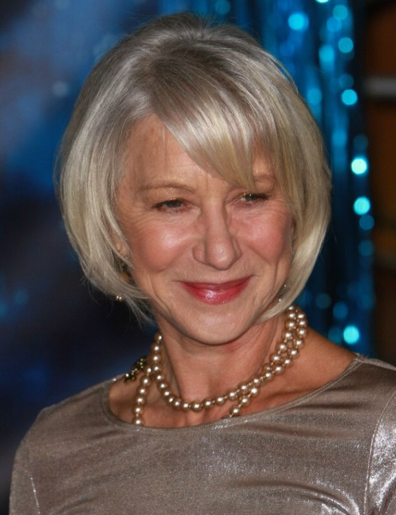 Super Helen Mirren Silver Hair And Dress For A Women Aged Over 60 Hairstyle Inspiration Daily Dogsangcom