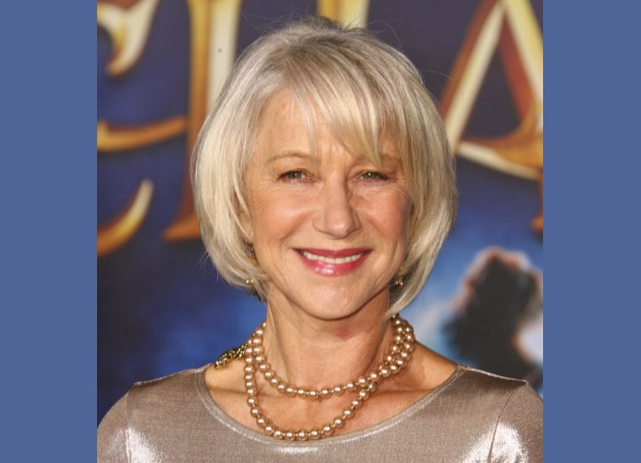 Hairstyle for older women with silver hair - Helen Mirren