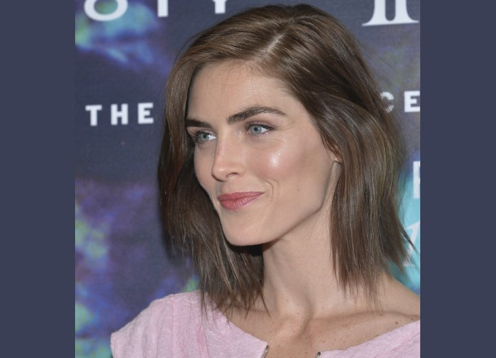 Hilary Rhoda with medium length brown hair