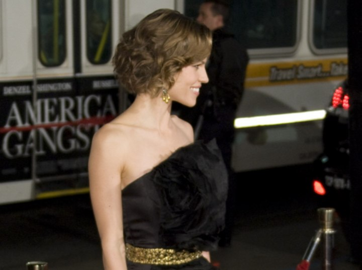 Hilary Swank wearing a feathery black dress