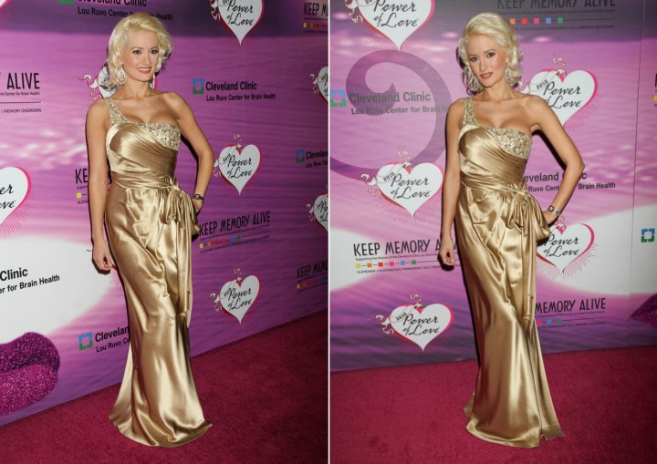 Holly Madison wearing a golden gown