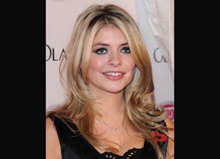 Holly Willoughby's hair color with browns and blondes