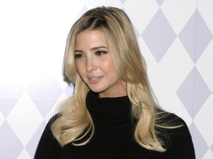 Ivanka Trump's hairstyle with long side bangs