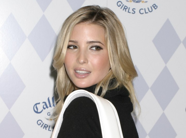 Ivanka Trump's stylish casual look with long hair and a turtleneck