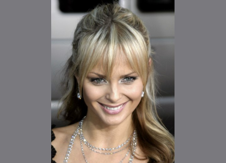 Crown view of Izabella Scorupco's hair