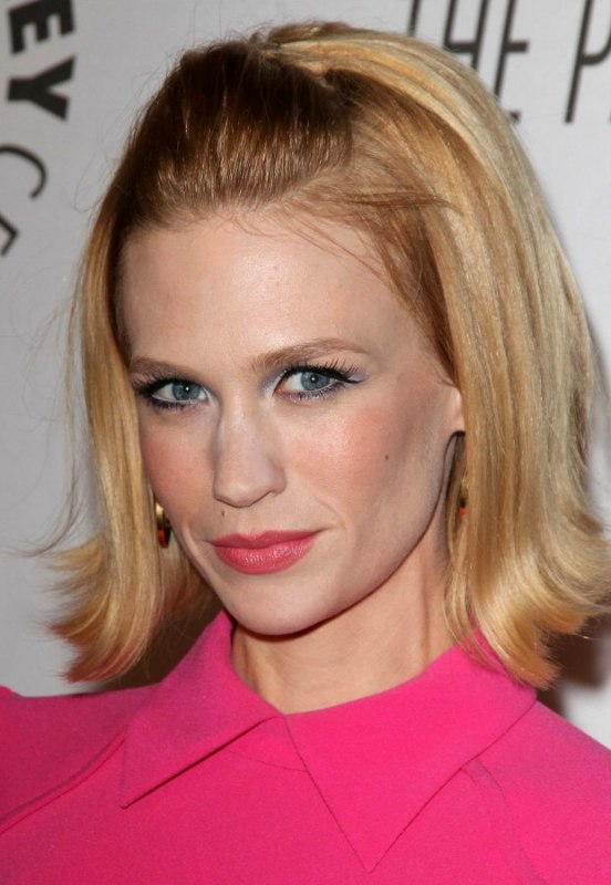January Jones Wearing Her Hair In A Bob With Pulled Up Fringe