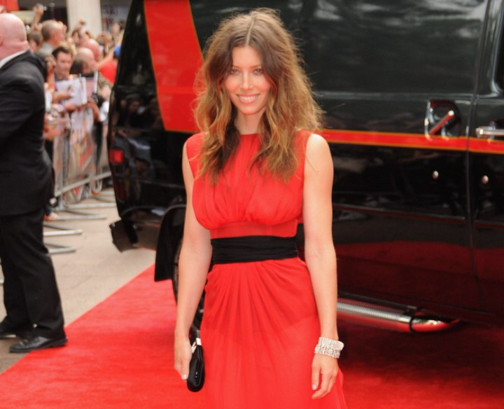 Jessica Biel wearing a long red dress