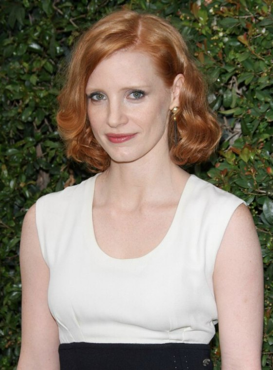 Jessica Chastain Wearing Her Red Hair In A Bob
