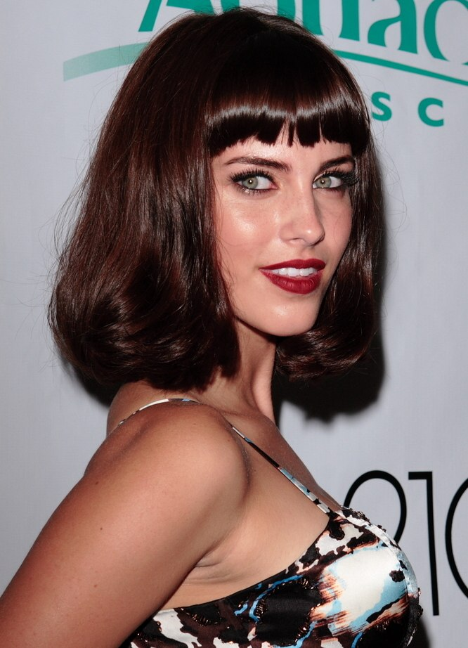Jessica Lowndes bob hairstyle with volume and bangs cut above the brows