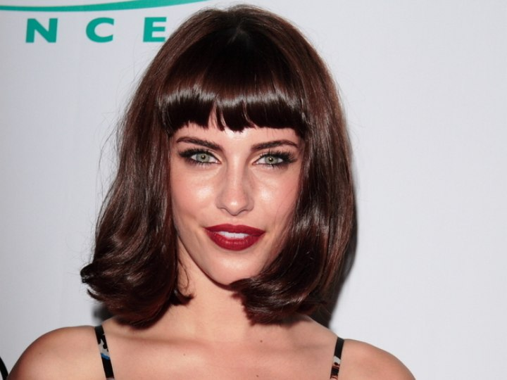 Jessica Lowndes bob haircut with short bangs