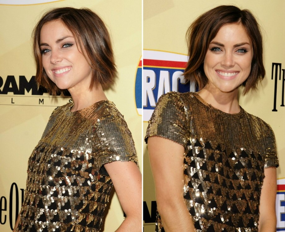 Jessica Stroup S Short Hairstyle That Lies In The Middle Of Her Neckline And Mila Kunis Wearing Her Hair Back