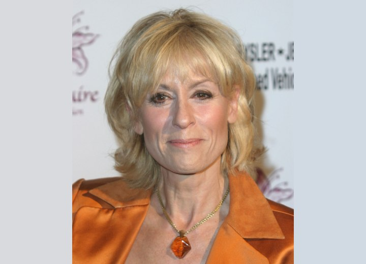 Medium length hairstyle to hide facial creases - Judith Light