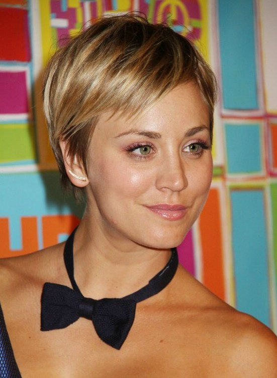 Kaley Cuoco With Her Hair Cut Short Into A Pixie