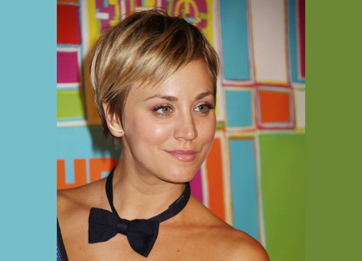 Kaley Cuoco With Her Hair In A Pixie