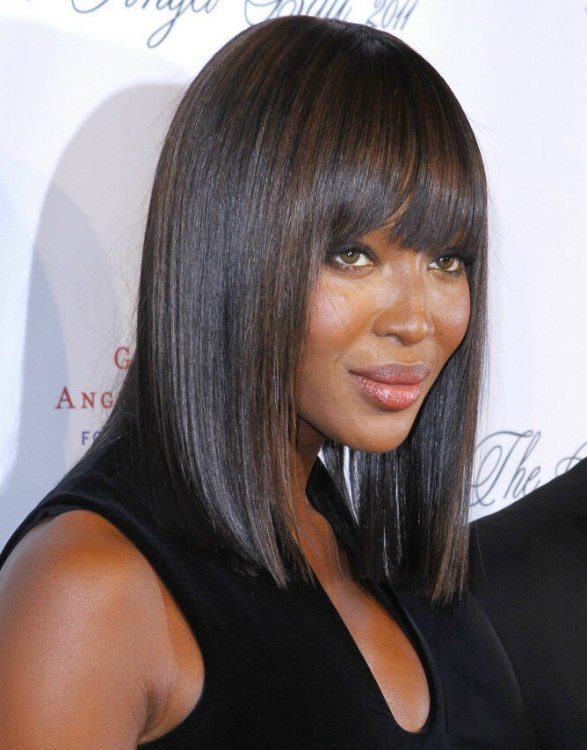 Naomi Campbell Super Straight Hair In A Frame Around The