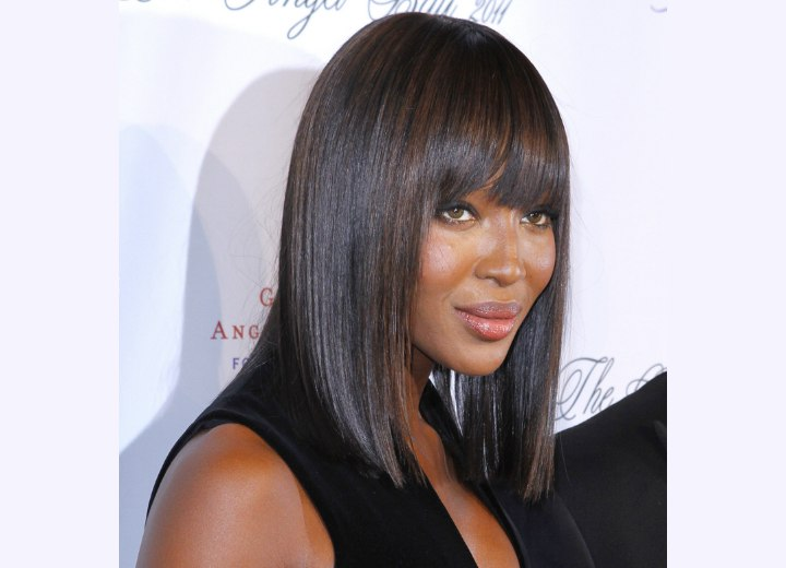 Naomi Campbell with super straight hair