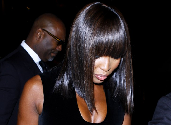 Naomi Campbell with very smooth and shiny hair