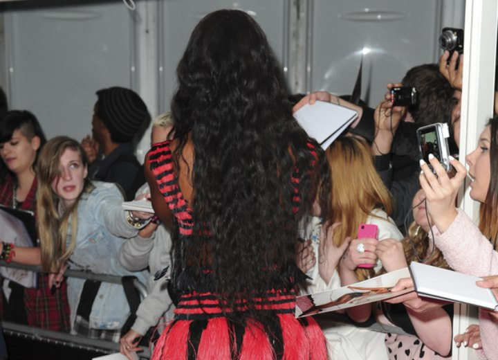 Back view of Naomi Campbell's long hair