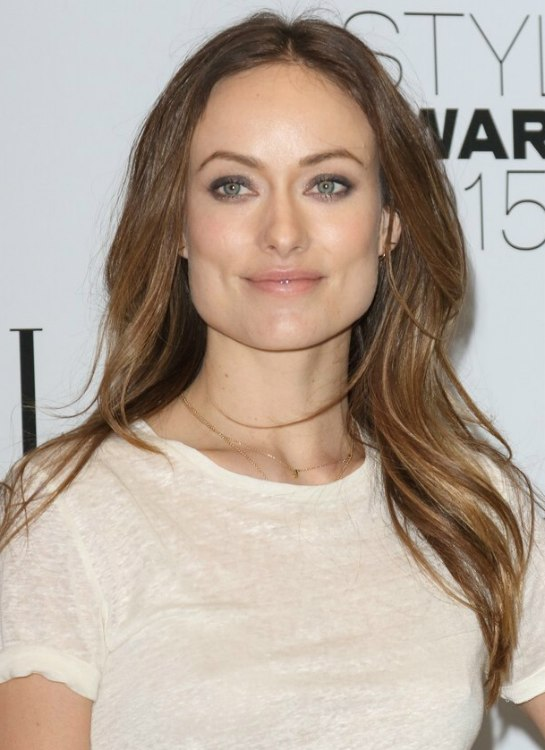 Olivia Wilde Long Hair With A Center Part For A Square Face Shape