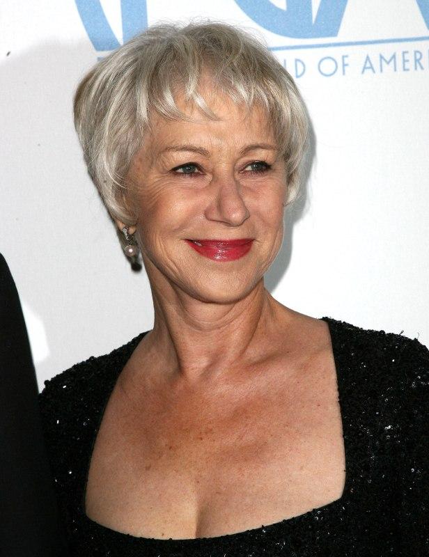 Helen Mirren Wearing Her Silver White Hair Short In A Pixie