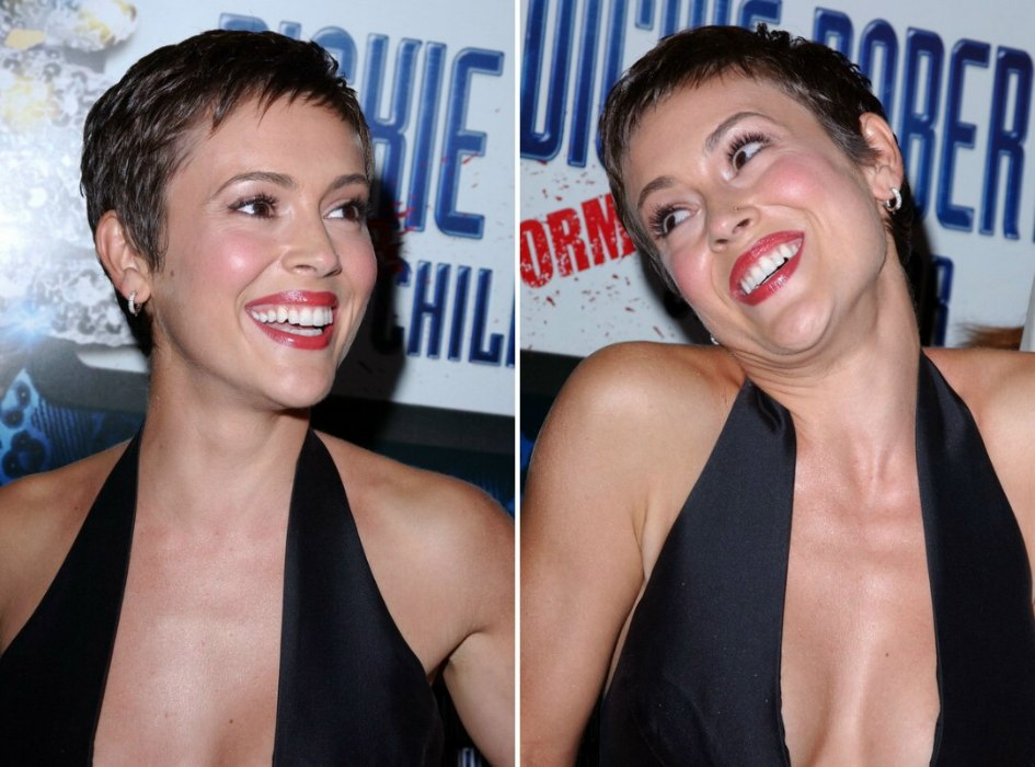 Alyssa Milano Short And Simple Pixie Cut To Show Off Delicate Features