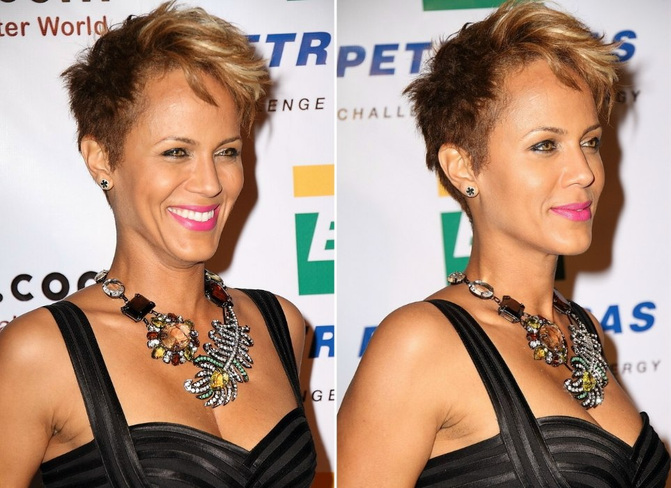 Nicole Ari Parker S Ombre Pixie With Her Hair Trimmed Around The Ears