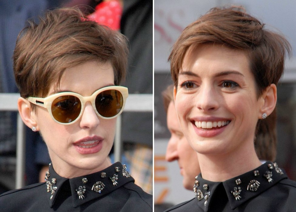 Anne Hathaway Pixie Hairstyle With Stacked Layers For A