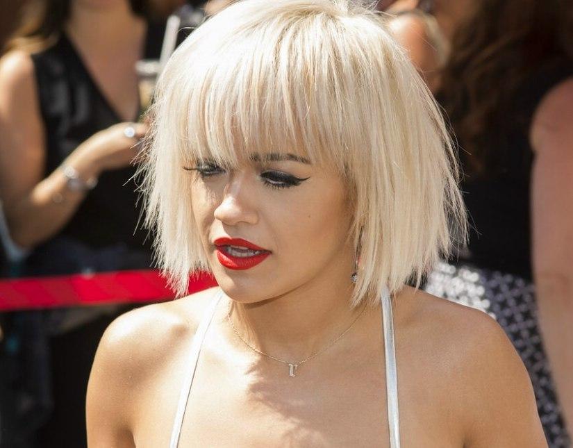Sensational Rita Ora Platinum Blonde Hair In A Short Bob With Bangs Short Hairstyles Gunalazisus