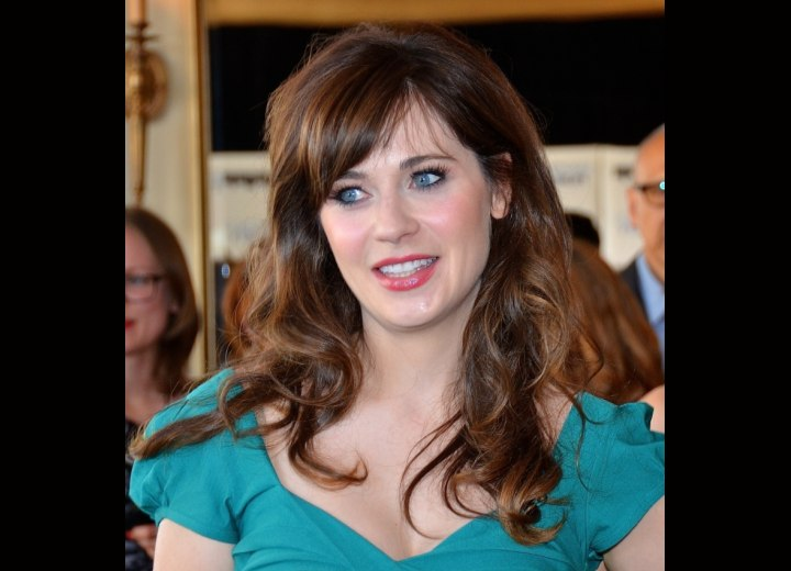 Zooey Deschanel's soft hair with bangs