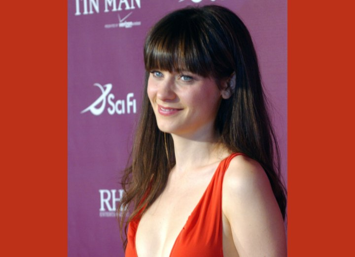 Zooey Deschanel with smooth long hair