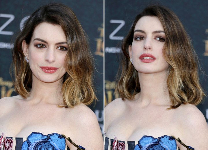 Anne Hathaway\'s ombré bob hairstyle