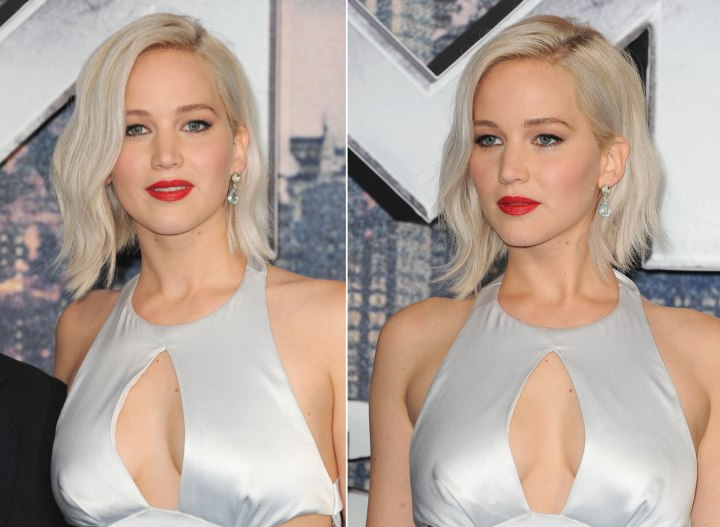 Jennifer Lawrence S Pale Blonde Bob