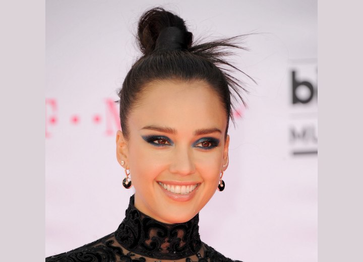 Jessica albas versatile top knot updo hairstyle with fanning out ends jessica alba hairstyles pmusecretfo Image collections