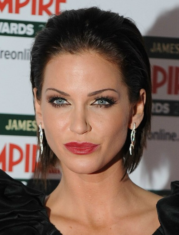 Sarah Harding Brunette Hair Styled Away From Her Face