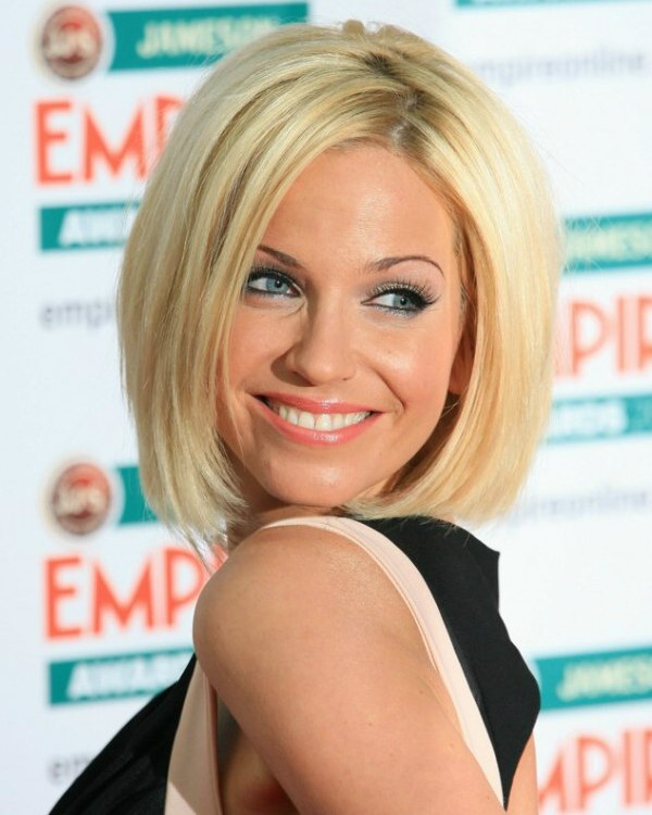 Sarah Harding Bob Haircut With Sides That Fall Under The