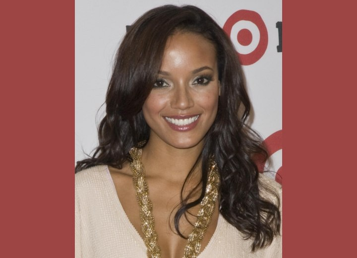 Selita Ebanks with long swoop bangs