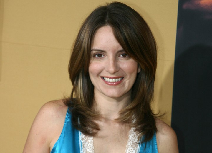 Tina Fey With Straightened Hair And With Curls