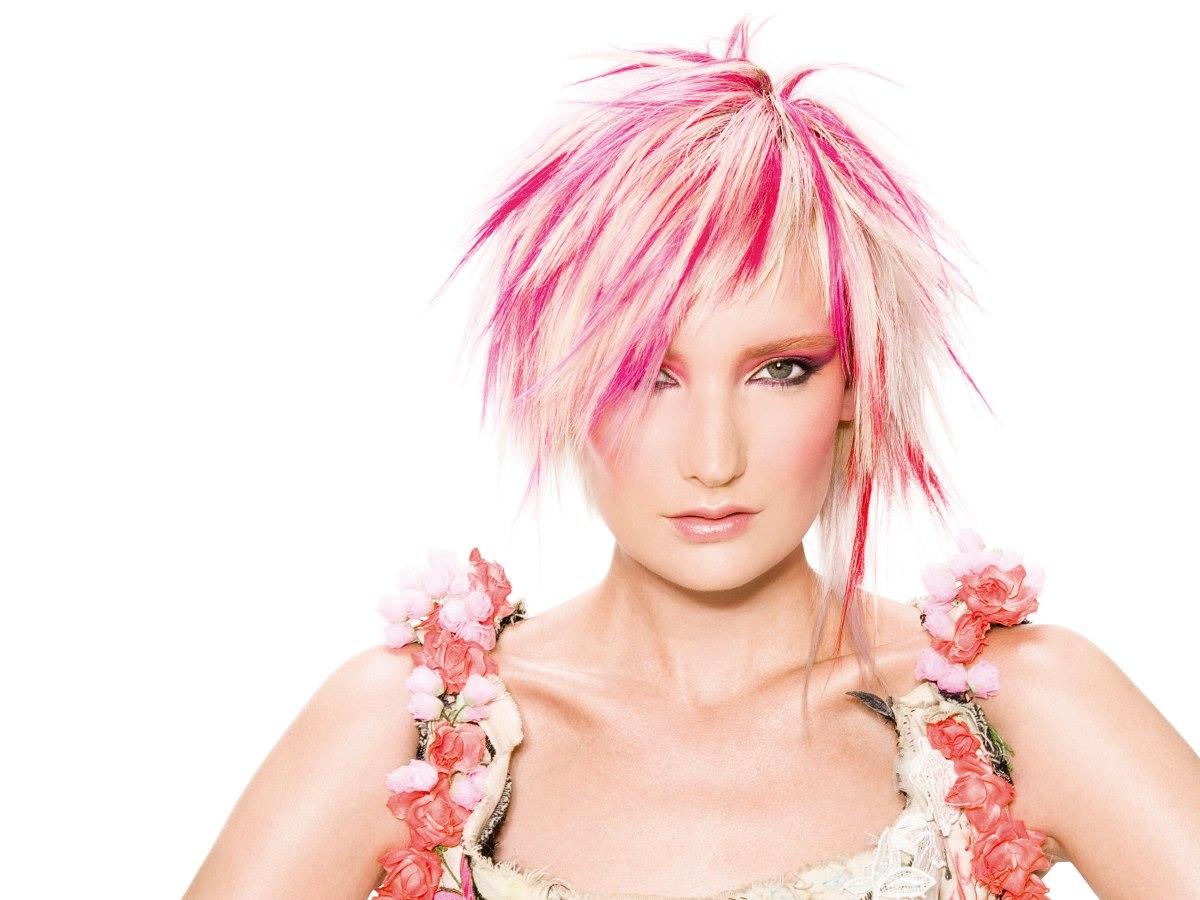 Choppy Short Blonde Hair With Pink Streaks