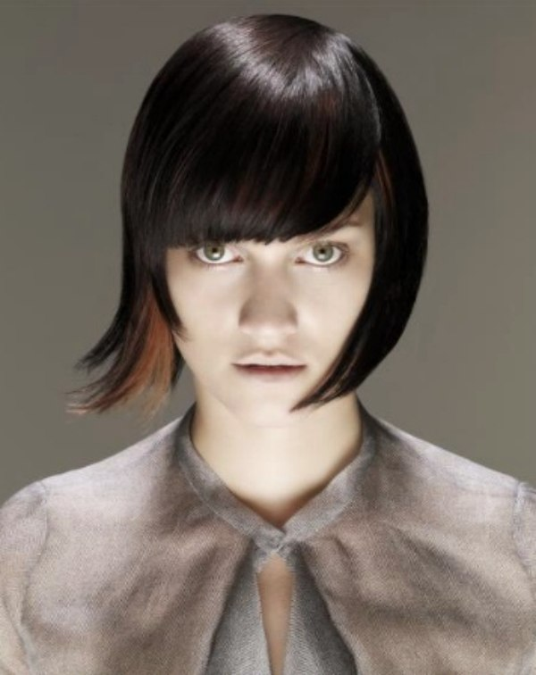 Swell Short Bob Hairstyle With Smooth Bangs Short Hairstyles For Black Women Fulllsitofus