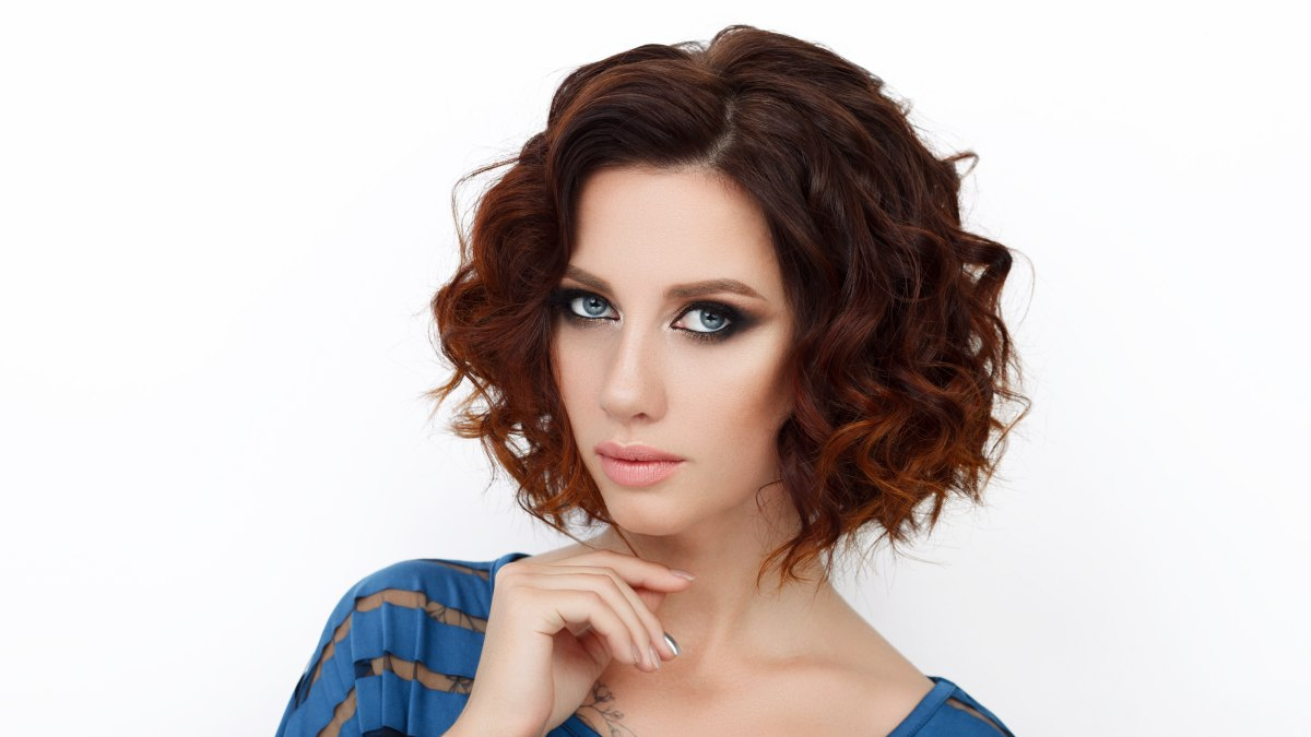 fullness for curly hair with an a-line cut, stacked bob or
