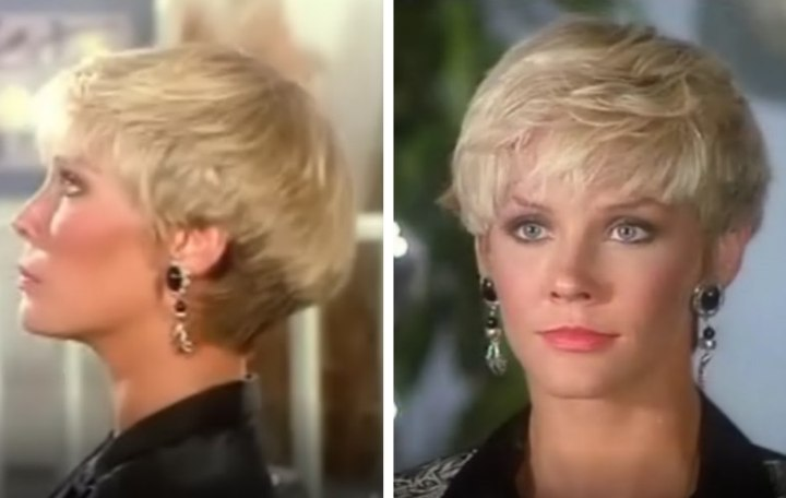 Kimberly Foster's hairstyle in Dallas, a haircut with exposed ears ...