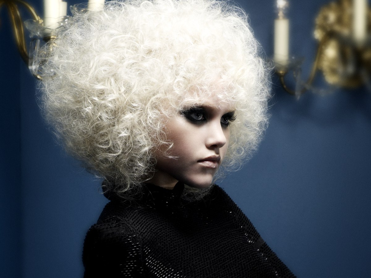 Platinum Blonde Afro Hairstyle