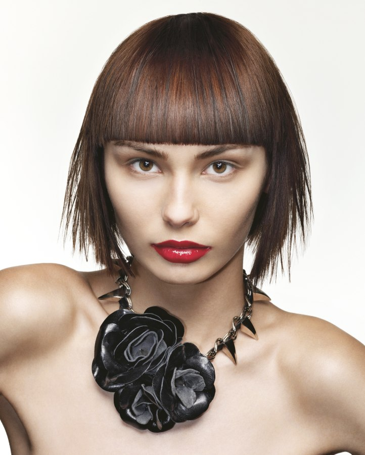 Short Blunt Cut Hairstyle With Straight Bangs