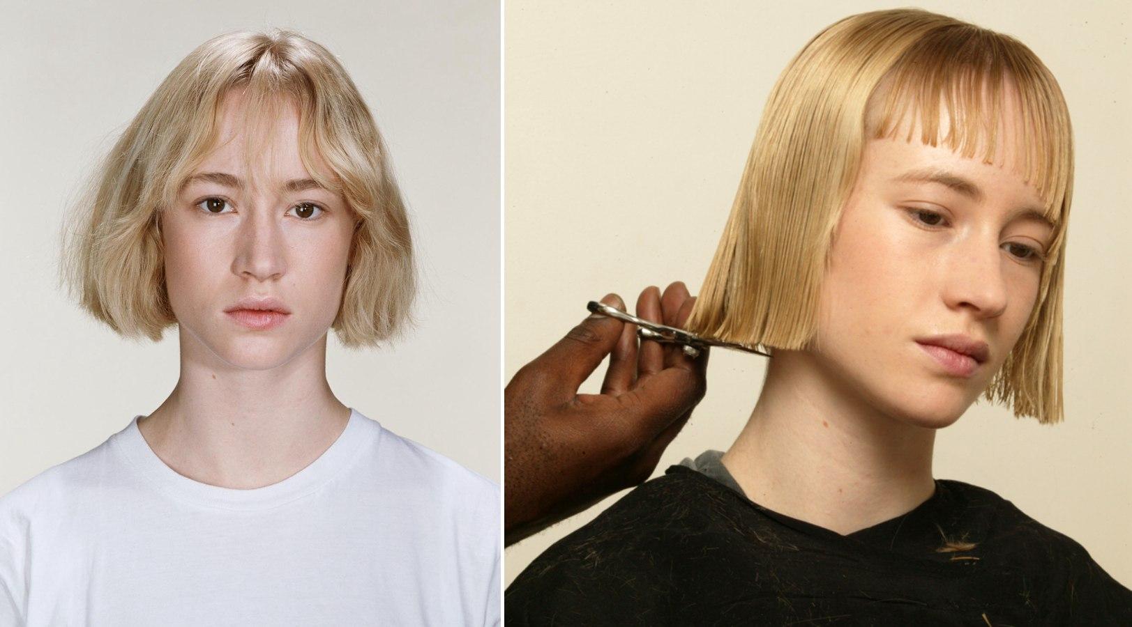 step 1 preparing the hair cut the hair into a short sharp bob ...