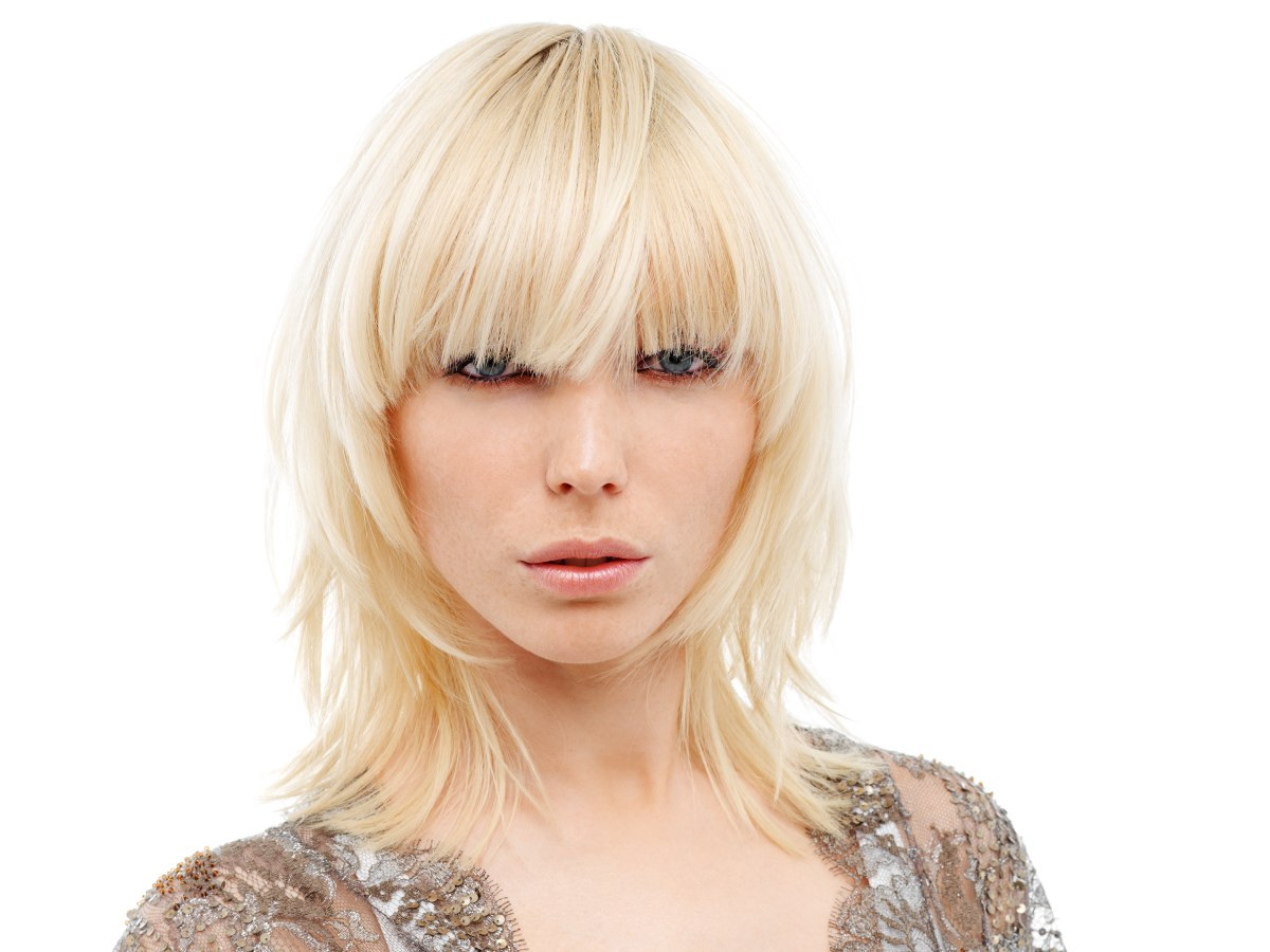 Shoulder Length Shag With Short Layers And Blunt Bangs