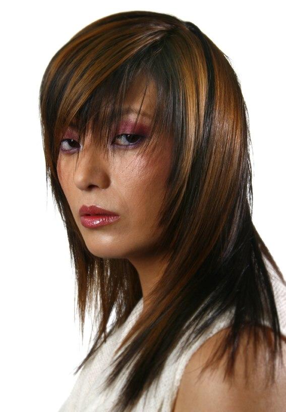 Long Hairstyle Streaks Bangs Peek