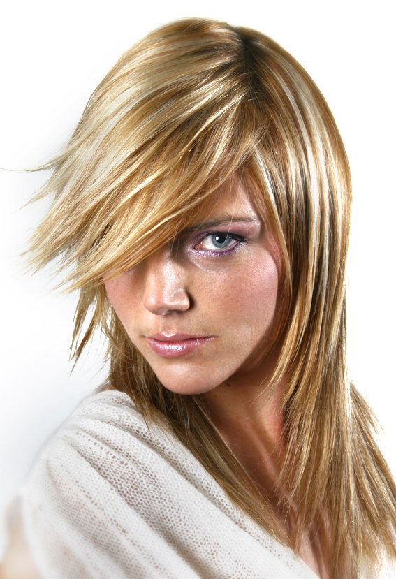 Long Hairstyle With Razored Ends And Hair Coloring With