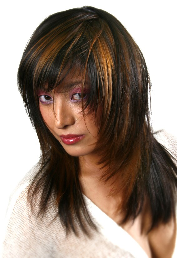 Long Brunette Hairstyle With Angled Sides And Golden