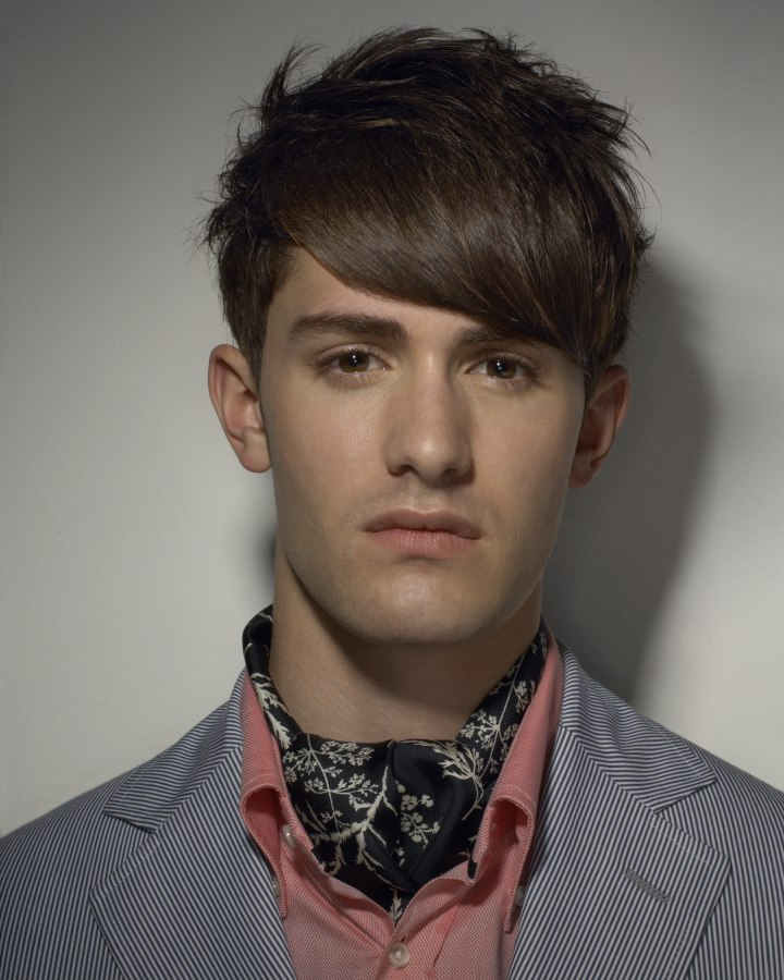 Men's hairstyle with layers, clipped sides and back and ...