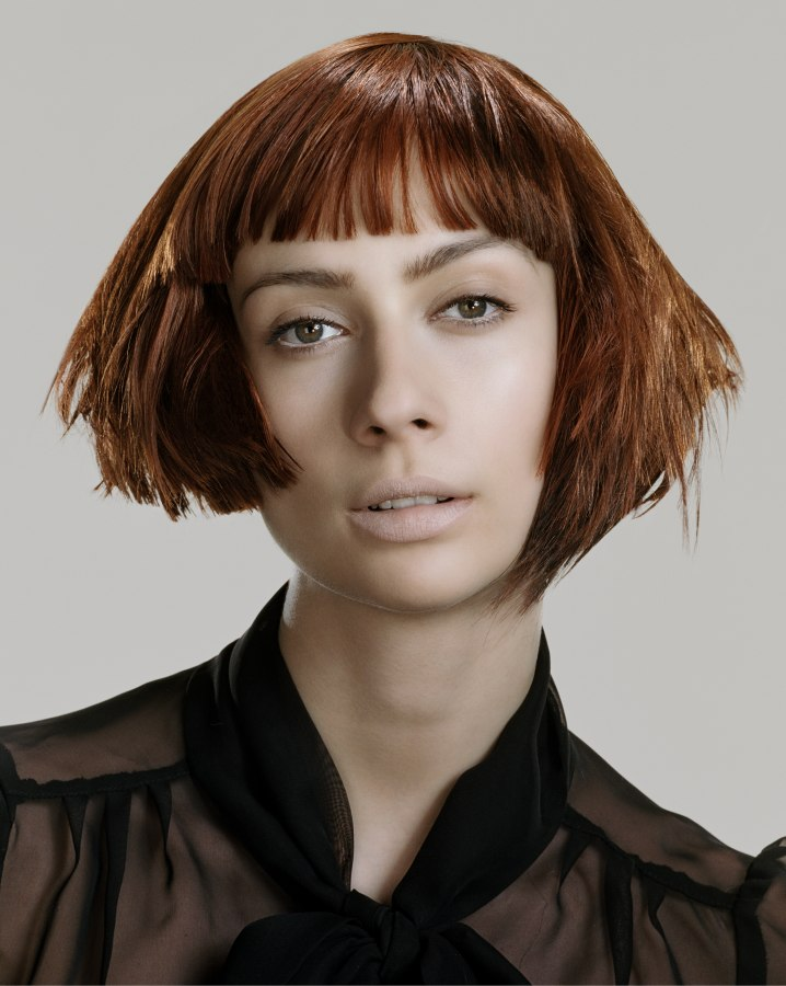 Short Bob With Point Cut Hair And Razor Cut Ends